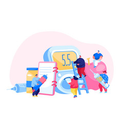 Diabetes disease concept tiny characters with vector