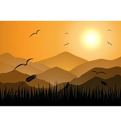Evening Mountains with grass vector image