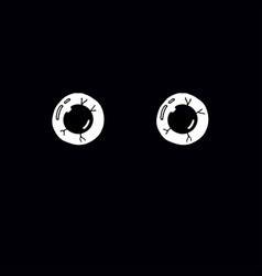 eyes on black background vector image