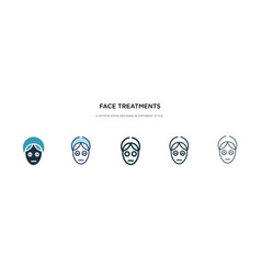 Face treatments icon in different style two vector