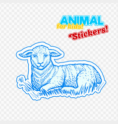 Farm animal lamb in sketch style on colorful vector