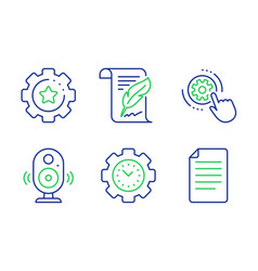 Feather time management and cogwheel settings vector