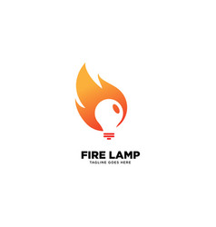 Fire lamp logo template icon element vector