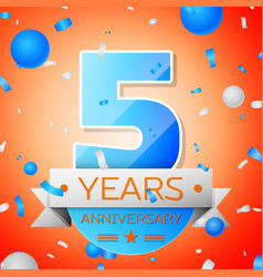 five years anniversary celebration vector image