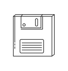 Floppy nineties retro line style icon vector