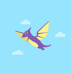 flying pteranodon and clouds vector image