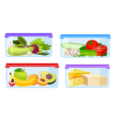 Fresh food stored in glass transparent containers vector