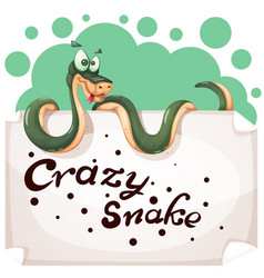 funny cute crazy snake characters paper banner vector image