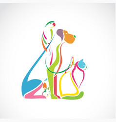Group pets colorful - dog cat bird vector