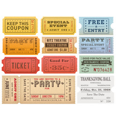 grunge colorful tickets templates vector image