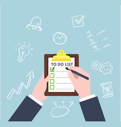 hand check the checklist business concept in flat vector image