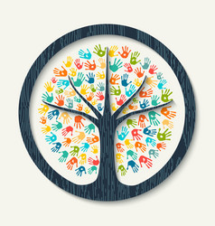 hand print tree diverse community team help vector image