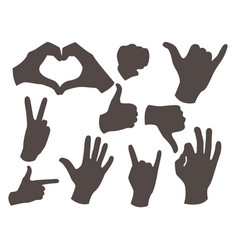 Hands deaf-mute different gestures black vector