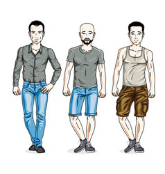 Handsome young men posing wearing casual clothes vector