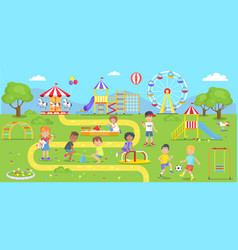 happy kids spend time on childrens playground vector image