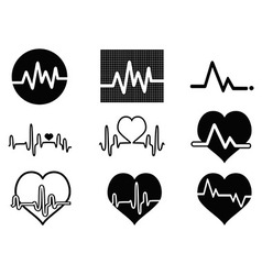 heartbeat icons vector image vector image