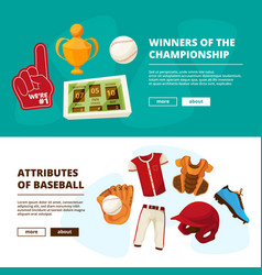 Horizontal banners with pictures of baseball vector