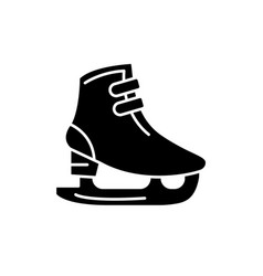 ice skates black icon sign on isolated vector image