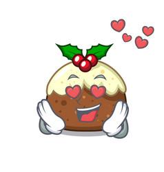 in love fruit cake mascot cartoon vector image