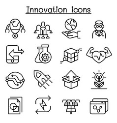 innovation technology icon set in thin line style vector image