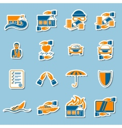 Insurance security stickers collection vector image