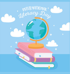 international literacy day school globe map vector image