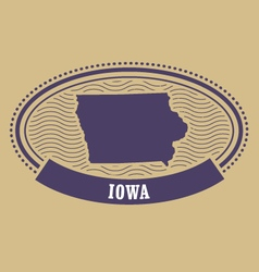 iowa map silhouette - oval stamp state vector image