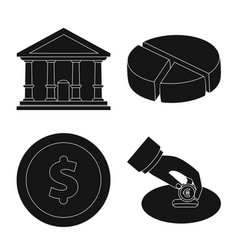 isolated object of bank and money symbol vector image