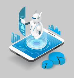 isometric ai robot on smart phone screen vector image