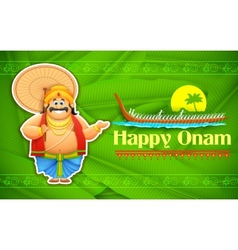 King Mahabali enjoying Boat Race of Kerla on Onam vector image