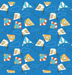 Kites like birds seamless pattern vector