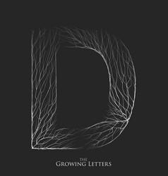 Letter d of branch or cracked alphabet d vector