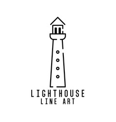 lighthouse line art logo design inspiration vector image