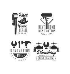 Logos for plumbing and repairing services home vector