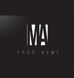 Ma letter logo with black and white negative vector