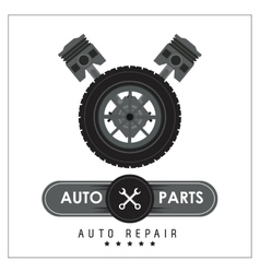 Macine and wheel icon Auto part design vector