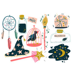 magic objects set witchcraft attributes magic vector image