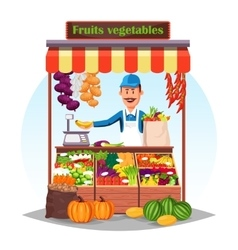 Market counter or stand with fruits and vegetables vector