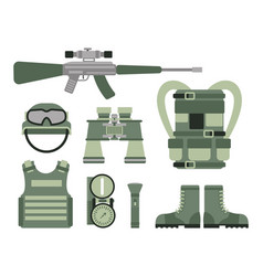 Military weapon guns symbols armor set forces vector