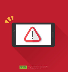 Mobile phone with attention warning alert sign vector