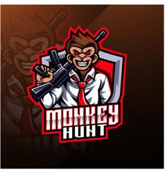 monkey hunt mascot logo design vector image