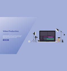 Movie or video production concept with team video vector