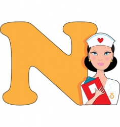 N is for nurse vector