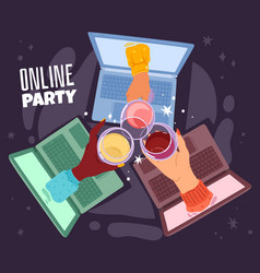 online drinking remote communication birthday vector image