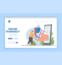 Online pharmacy concept for purchasing medication vector