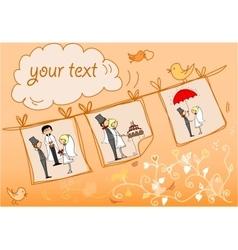 Orange Wedding Card Template vector