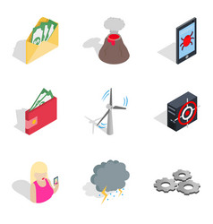 Penetration icons set isometric style vector