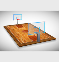Perspective of hardwood basketball court field vector