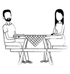 Picnic table with couple characters vector