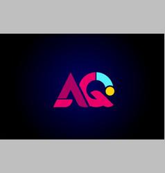 Pink blue alphabet letter aq a q combination vector